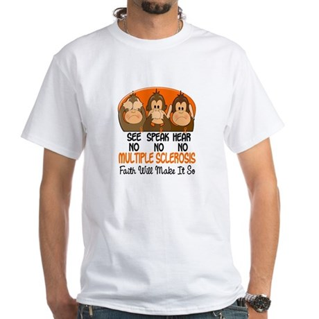 See Speak Hear No MS 1 White T-Shirt