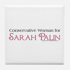 ConservativeWoman 4 Palin Tile Coaster