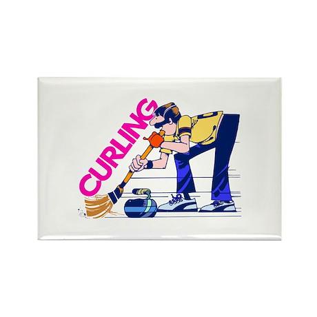 Curling Curler Curl Rectangle Magnet (100 pack)