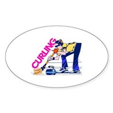 Curling Curler Curl Oval Decal