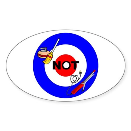 Curling NOT Curling Oval Sticker