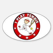 Boy I Play Tennis Oval Decal