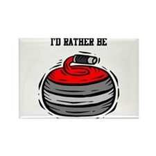 Rather Be Curling Rectangle Magnet