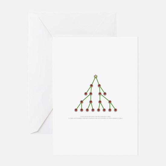 Binary Christmas Tree Holiday Greeting Card
