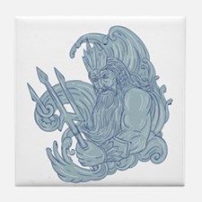 Poseidon Trident Waves Drawing Tile Coaster