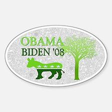 Obama Biden Green 08 Oval Decal