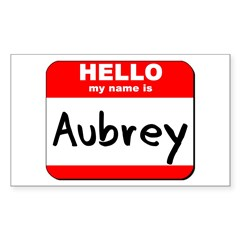 Hello my name is Aubrey Rectangle Decal