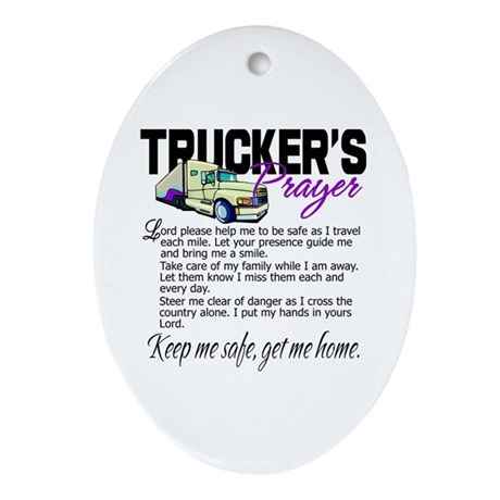 Trucker's Prayer Ornament (Oval)