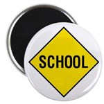 """Yellow School Sign - 2.25"""" Magnet (100 pack)"""