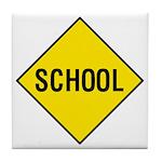 Yellow School Sign - Tile Coaster