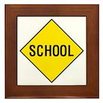 Yellow School Sign - Framed Tile