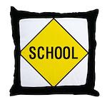Yellow School Sign - Throw Pillow