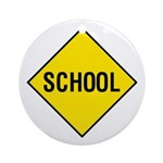 Yellow School Sign - Keepsake (Round)