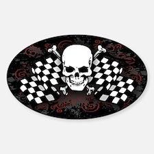 Racing Skull Oval Decal