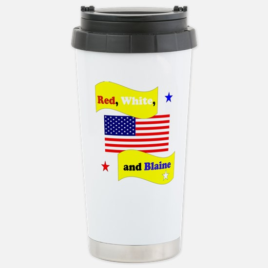Red White and Blaine Stainless Steel Travel Mug