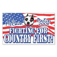 Country First Palin Pit Bull Rectangle Decal