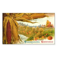 Hearty Thanksgiving Greetings Rectangle Decal