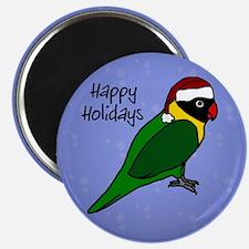 Santa Black Masked Lovebird Christmas Magnet