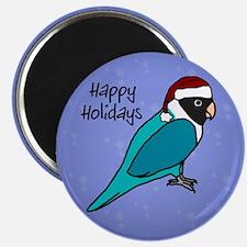 Santa Blue Black Masked Lovebird Xmas Magnet