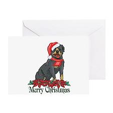 Poinsettia Rottweiler Greeting Card