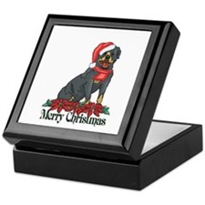 Poinsettia Rottweiler Keepsake Box