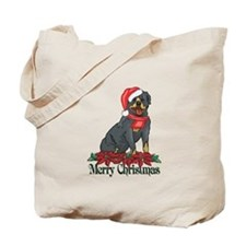 Poinsettia Rottweiler Tote Bag