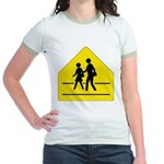 School Crossing Sign Jr. Ringer T-Shirt