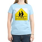 School Crossing Sign Women's Pink T-Shirt
