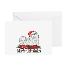 Poinsettia Maltese Greeting Card
