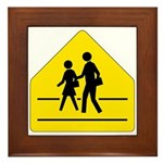 School Crossing Sign - Framed Tile