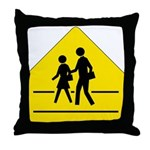 School Crossing Sign - Throw Pillow