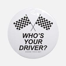 Checker Flag Driver Ornament (Round)