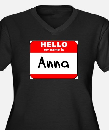 Hello my name is Anna Women's Plus Size V-Neck Dar