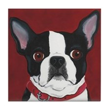 Boston Terrier on Red Tile Coaster