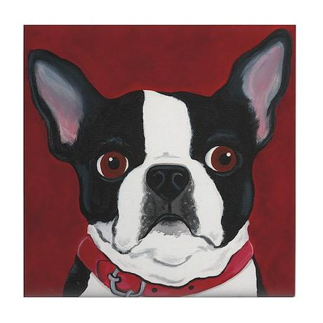 Boston Terrier on Red Tile Coaster