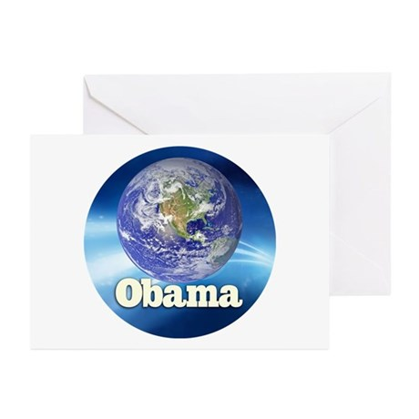 Obama Blue Earth Greeting Cards (Pk of 10)
