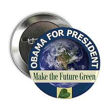 """Obama Earth Blue Rim 2.25"""" Button"""