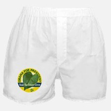 Obama Green Leaf Yellow Boxer Shorts