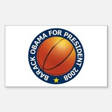Obama Basketball Blue Rectangle Sticker 50 pk)