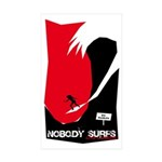 Nobody Surfs Like a Wahine Rectangle Sticker 50 p