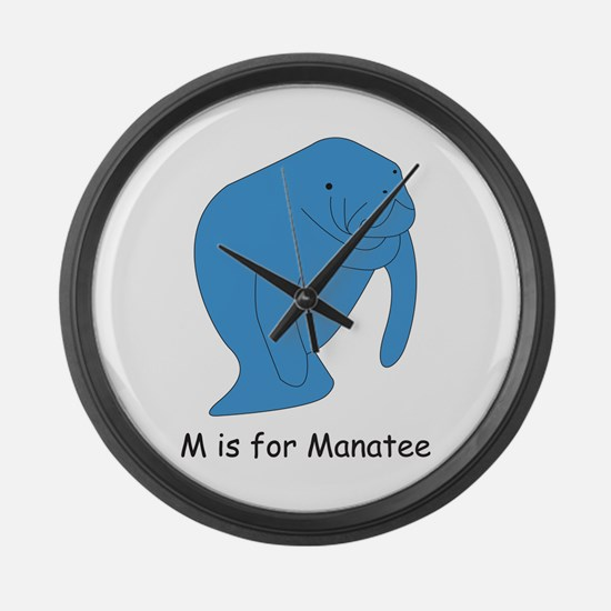 M is for Manatee Large Wall Clock