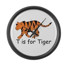 T is for Tiger Large Wall Clock