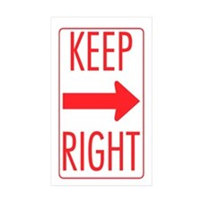Keep Right Rectangle Sticker 50 pk)