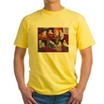Impressionist Swallows Yellow T-Shirt