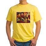 Impressionist Swallows Yellow T-Shirt