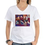 Impressionist Swallows Women's V-Neck T-Shirt