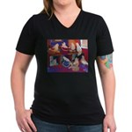 Impressionist Swallows Women's V-Neck Dark T-Shirt