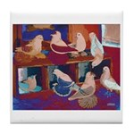 Impressionist Swallows Tile Coaster