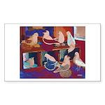 Impressionist Swallows Rectangle Sticker 50 pk)