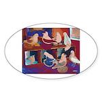 Impressionist Swallows Oval Sticker